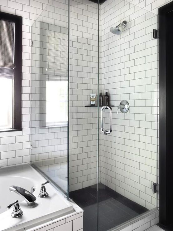 White Subway Tile With Dark Grout Charcoal Floors Dream House Pinterest White Subway