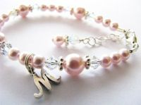 Baby gift, Baby bracelet with an initial...flower girl ...