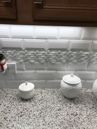 Kitchen Backsplash 3x6 white subway tile with deco accent ...