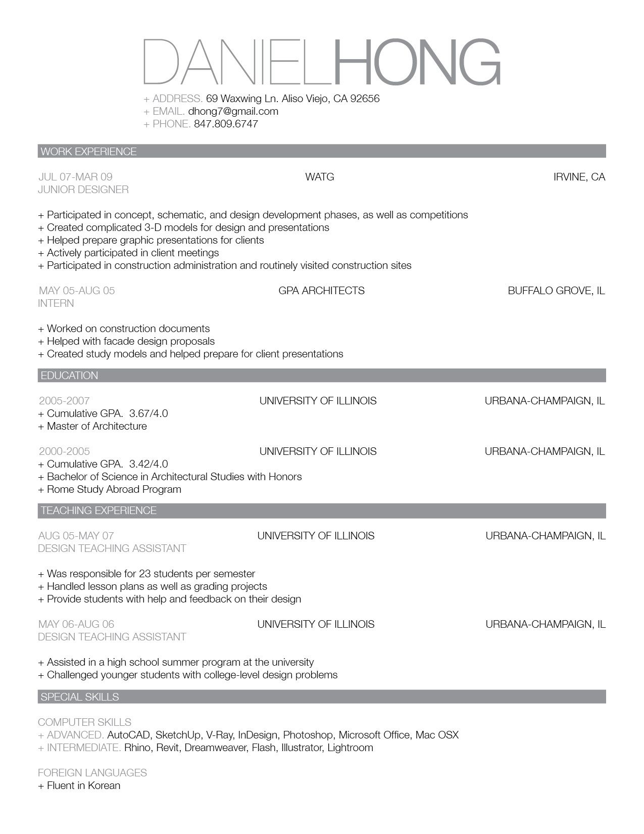 Resume Example Singapore Examples Of Resumes