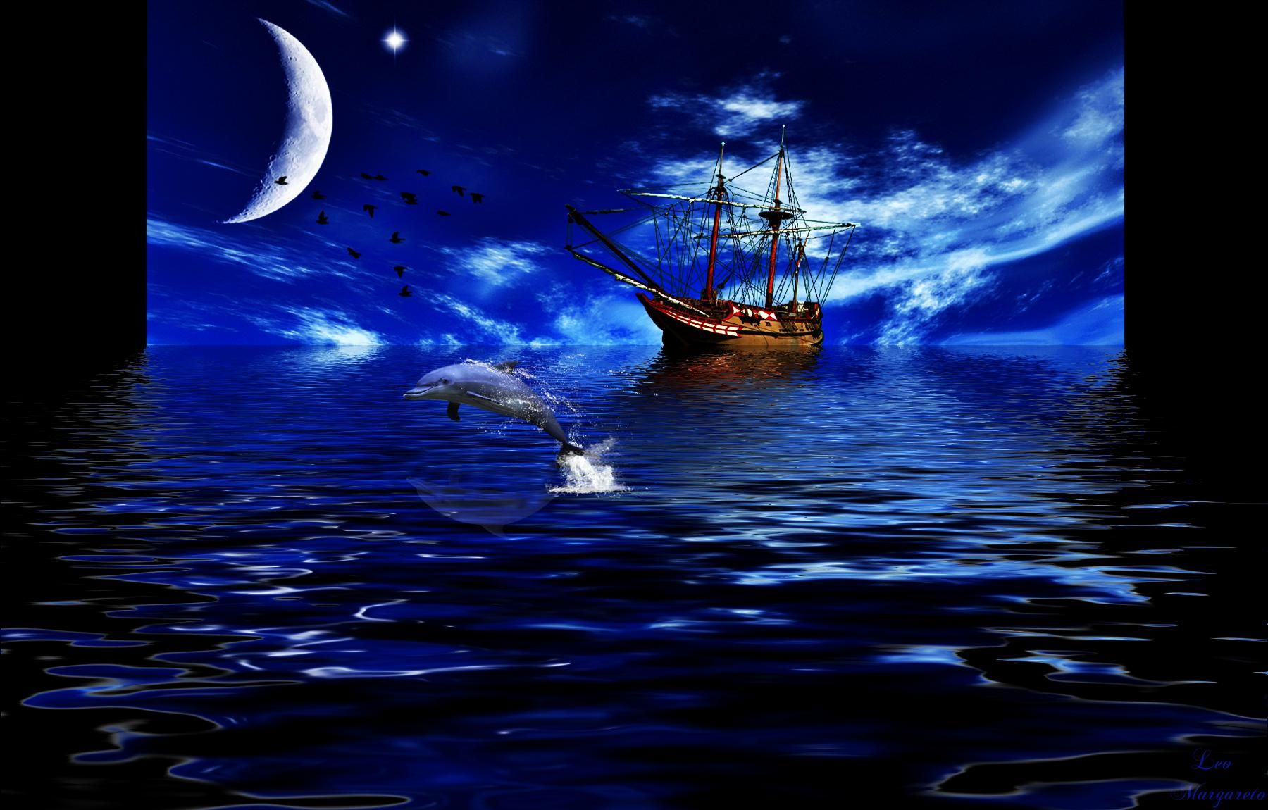 Columbus Ship Sailing At Night