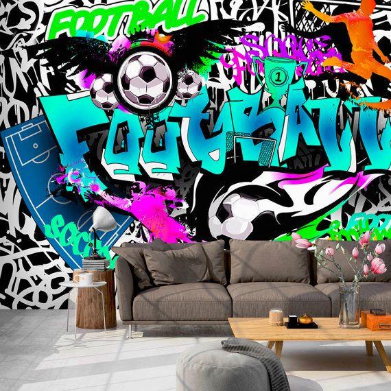 Photo Wallpaper Wall Murals Non Woven Graffiti Football