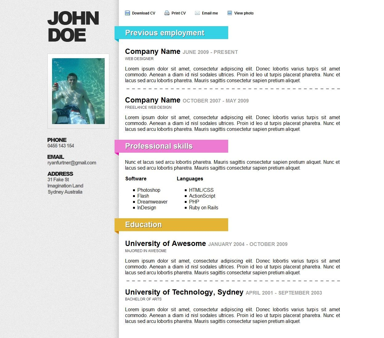 Awesome Online ResumeCV Site Templates ThemeForest JkT4bZoi