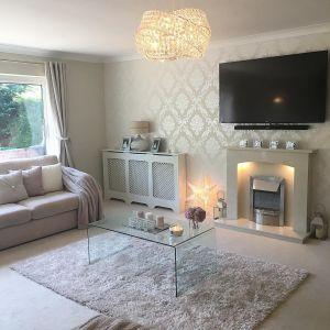 living glitter grey lounge chelsea instagram decor gold designs wall rooms elegant mrs feature damask chandelier livingroom cream dark fireplace