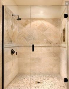 The penny pebble floor two different tile designs on wall with band seperating travertine shower design also idea new house ideas pinterest rh