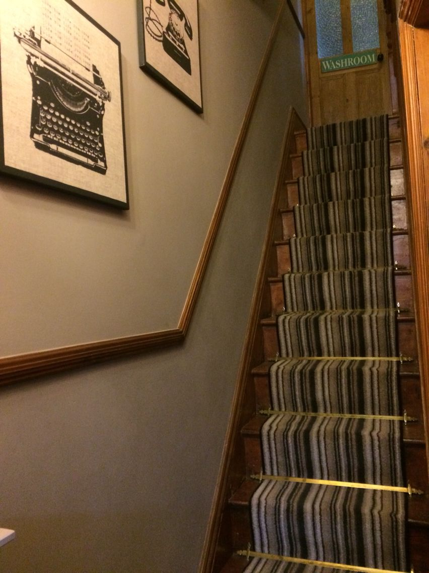 Stripe carpet, runner stair carpet, stair rods Victorian