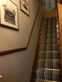 Stripe carpet, runner stair carpet, stair rods Victorian