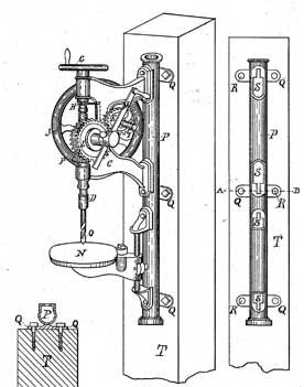 Post Drill patented in 1883, hand powered by a crank
