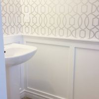 powder room board and batten wallpaper