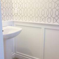 powder room board and batten wallpaper
