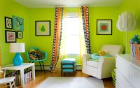 Modern Lime Green Living Room Wall Color | Love this idea ...