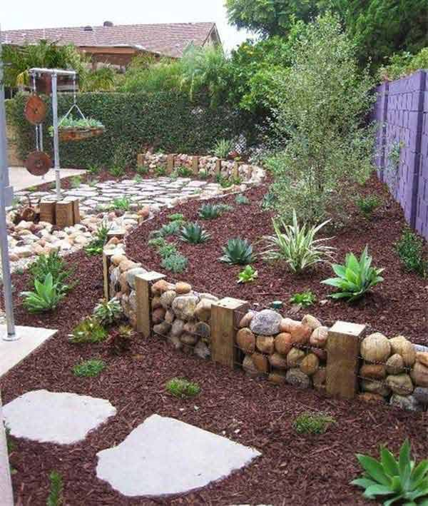 Diy Homemade Gabion Wall Ie Rocks Encased In Wire Baskets And Used As A Retaining Wall Creates A Dramatic Feature In A Garden No Directions On Link
