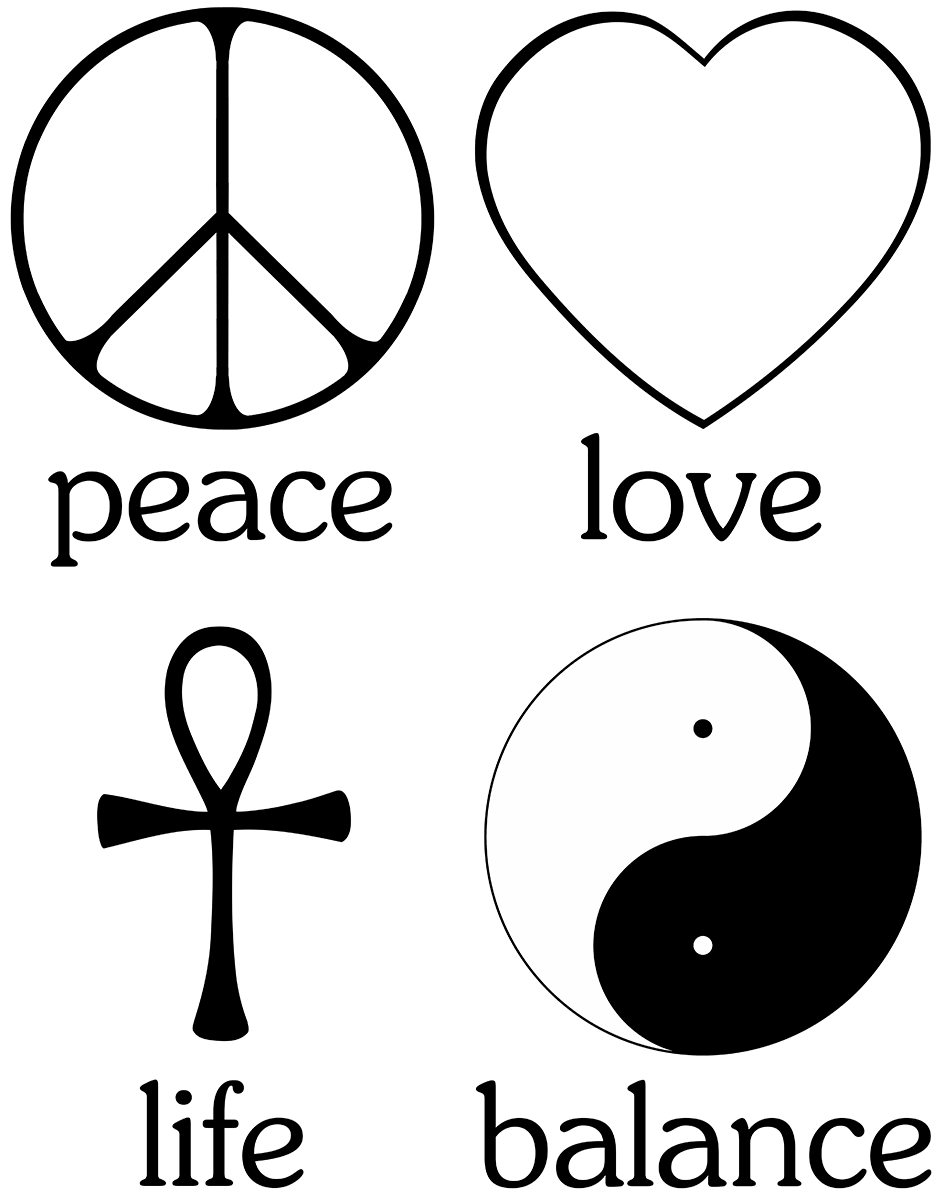 And Tattoos Symbol Peace Chinese Happiness Love