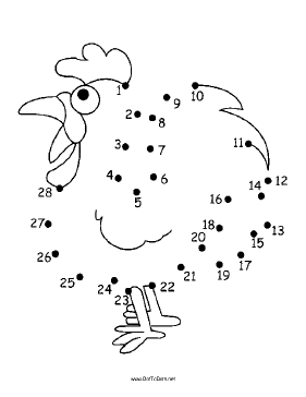 The alert cartoon rooster in this printable dot to dot