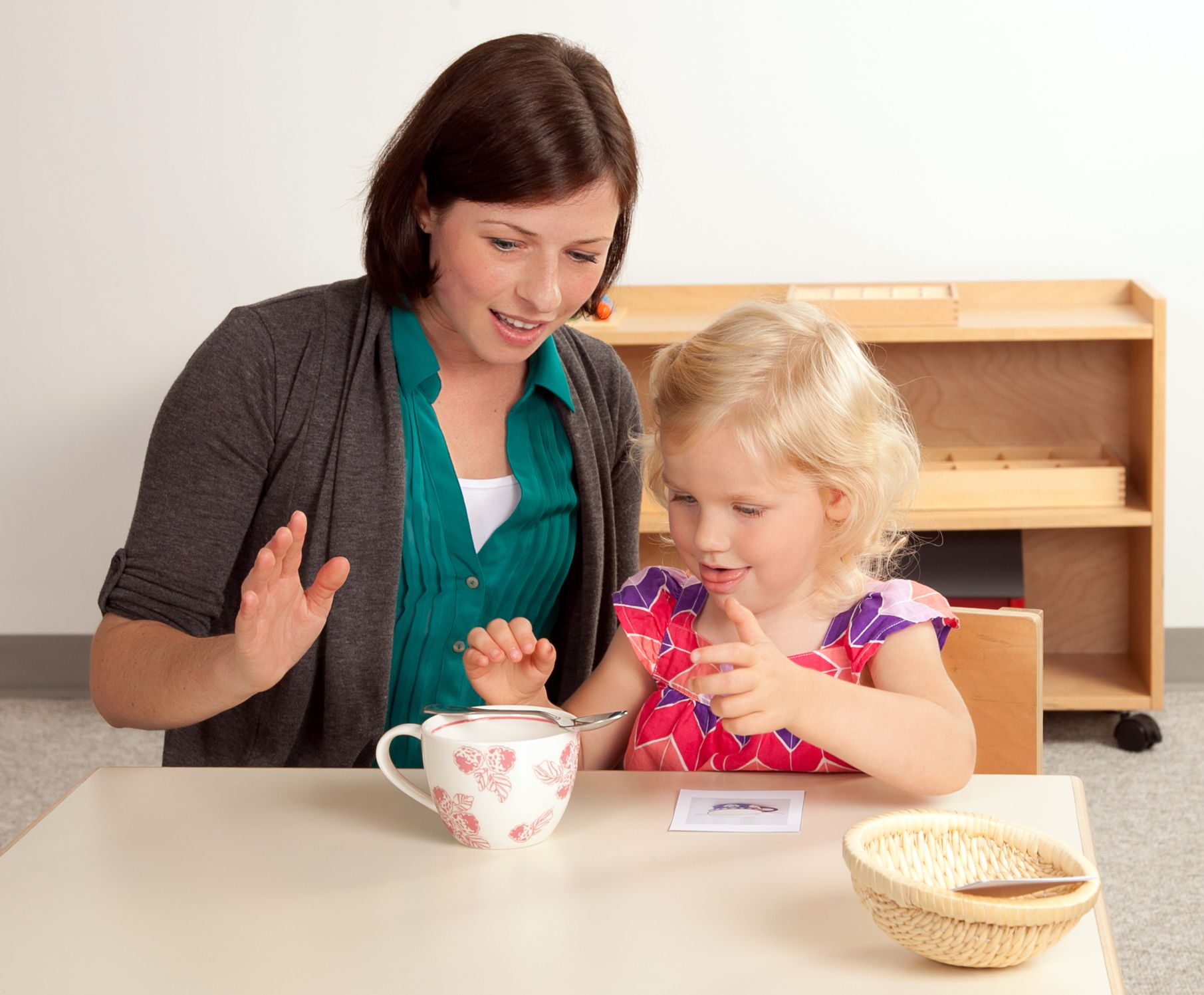 Complimentary Montessori Homeschool Activity Teacher And Child Using Spatial Relationships