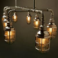 Outdoor Galvanised plumbing pipe dining table light E27 ...