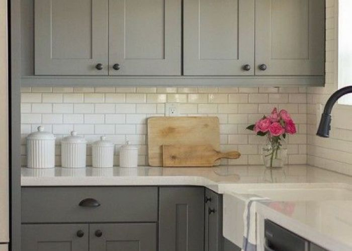 Classic kitchen design with gray cabinets ideas pinterest grey white subway tiles and kitchens also