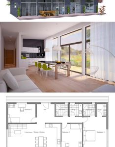 Kleines haus nice open rooms needs  tub in one of the bathrooms could even alter br to be screened porch also plan de maison domy pinterest house architecture and smallest rh