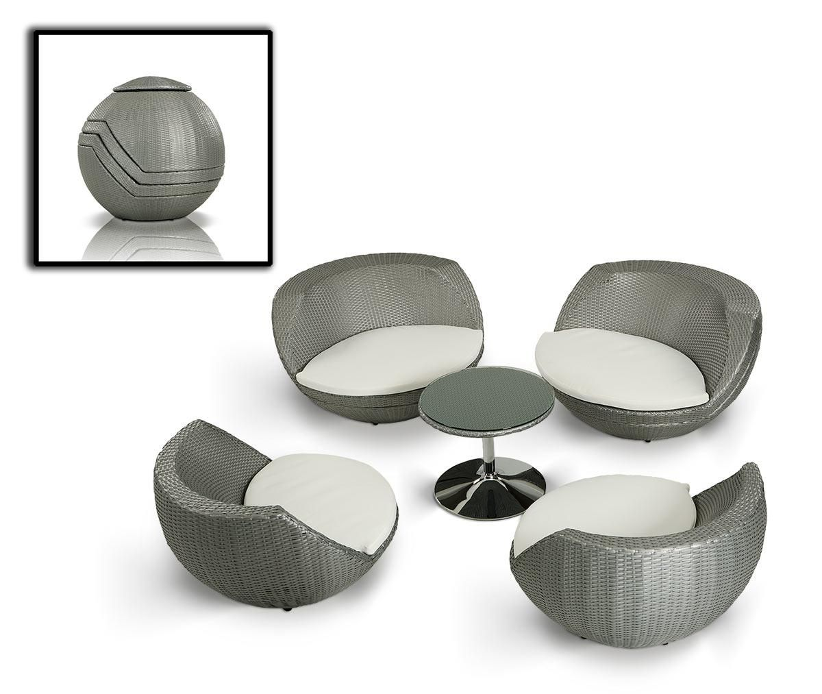 Egg Shaped Wicker Chair Renava Ovum Modern 5 Piece Egg Shape Patio Set