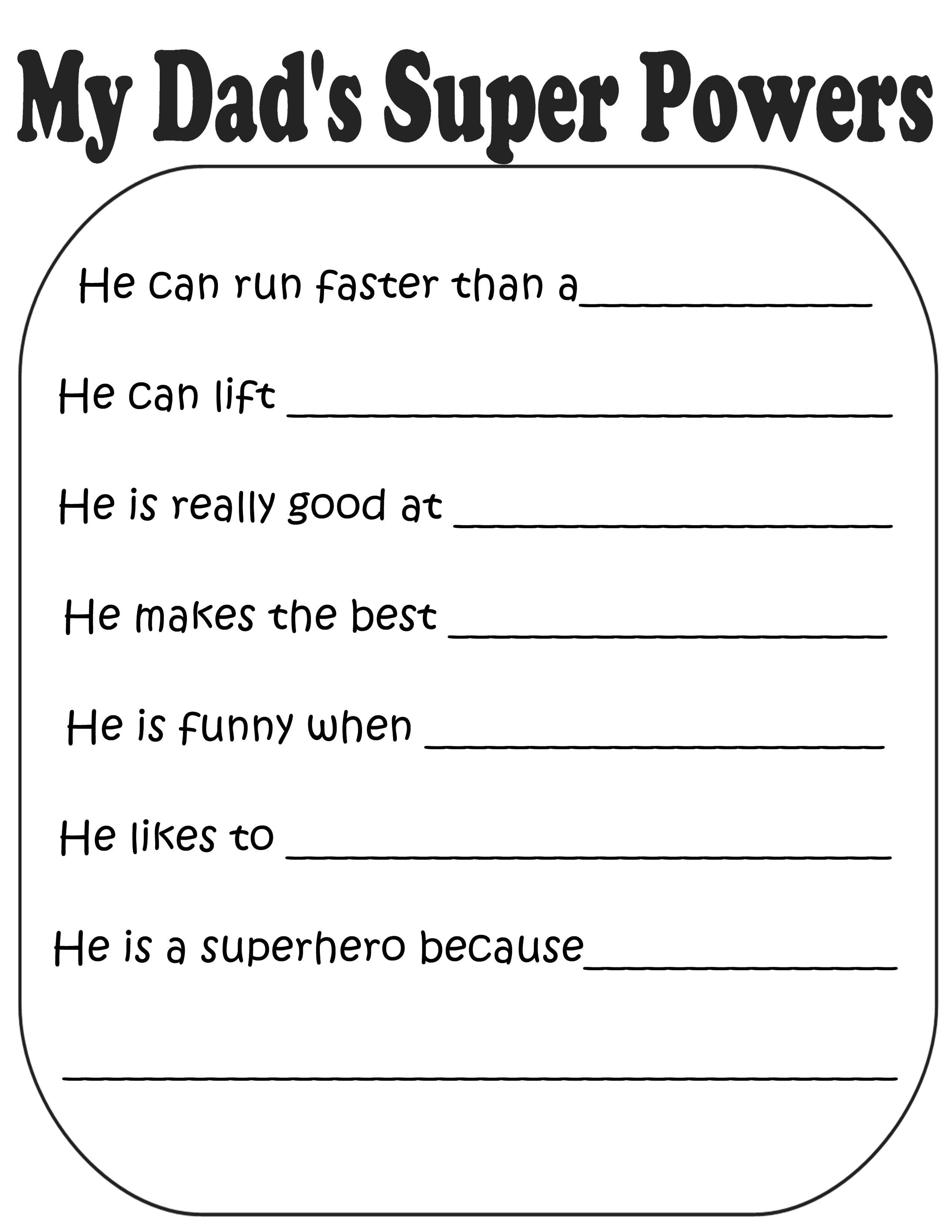 Father S Day T Book Grades K 3 Superhero Theme
