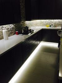 Under cabinet and footwell led strip lighting. Also hidden