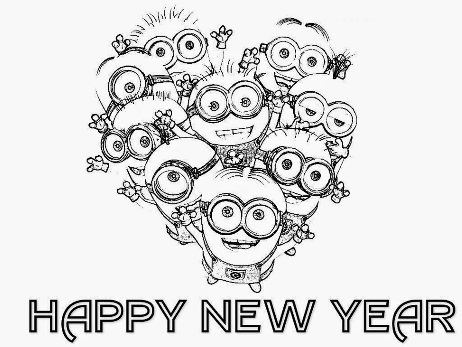 Printable New Year Cards Coloring Pages