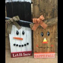 Reversible Snowman Scarecrow Pallet Signs Thecraftyqueen