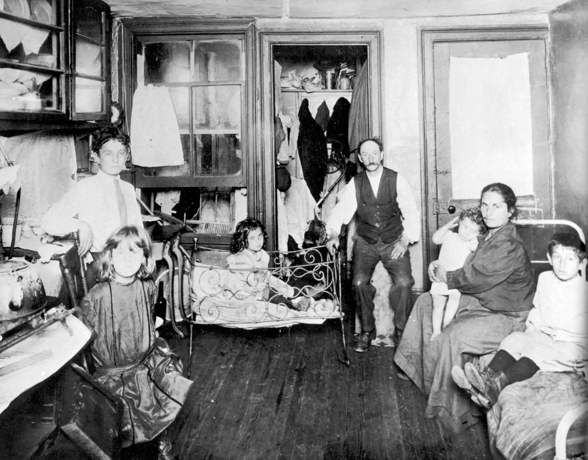 Family Living In A One Room Tenement Slum New York City Otograph By Jacob Riis