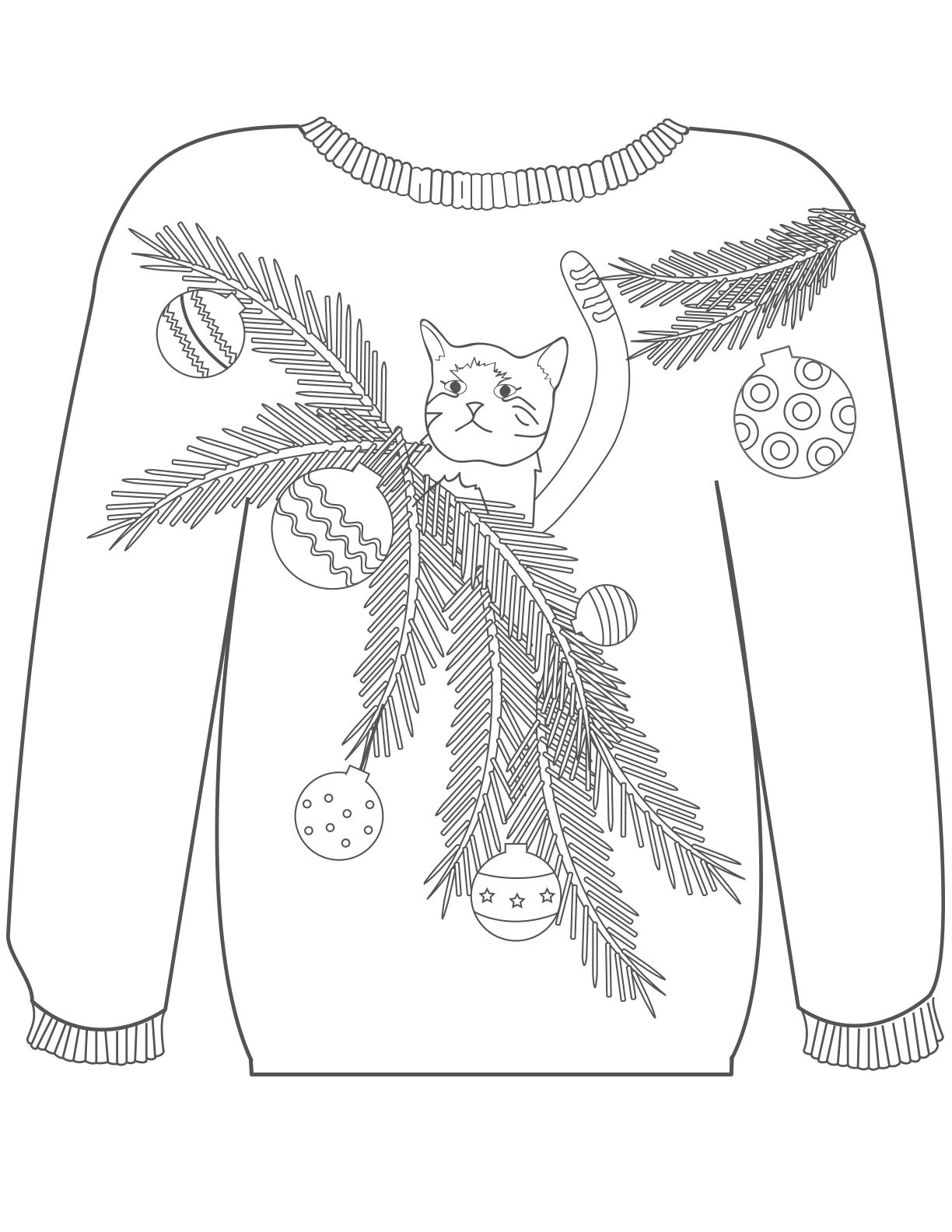 Holiday Sweater Coloring Page Sketch Coloring Page