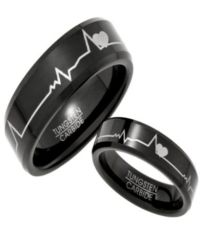 Black Tungsten His and Her Rings with Hearts and ...
