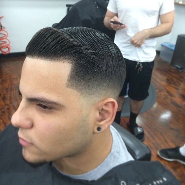Tight Low Fade With Combover And Crisp Line Up Men's Grooming