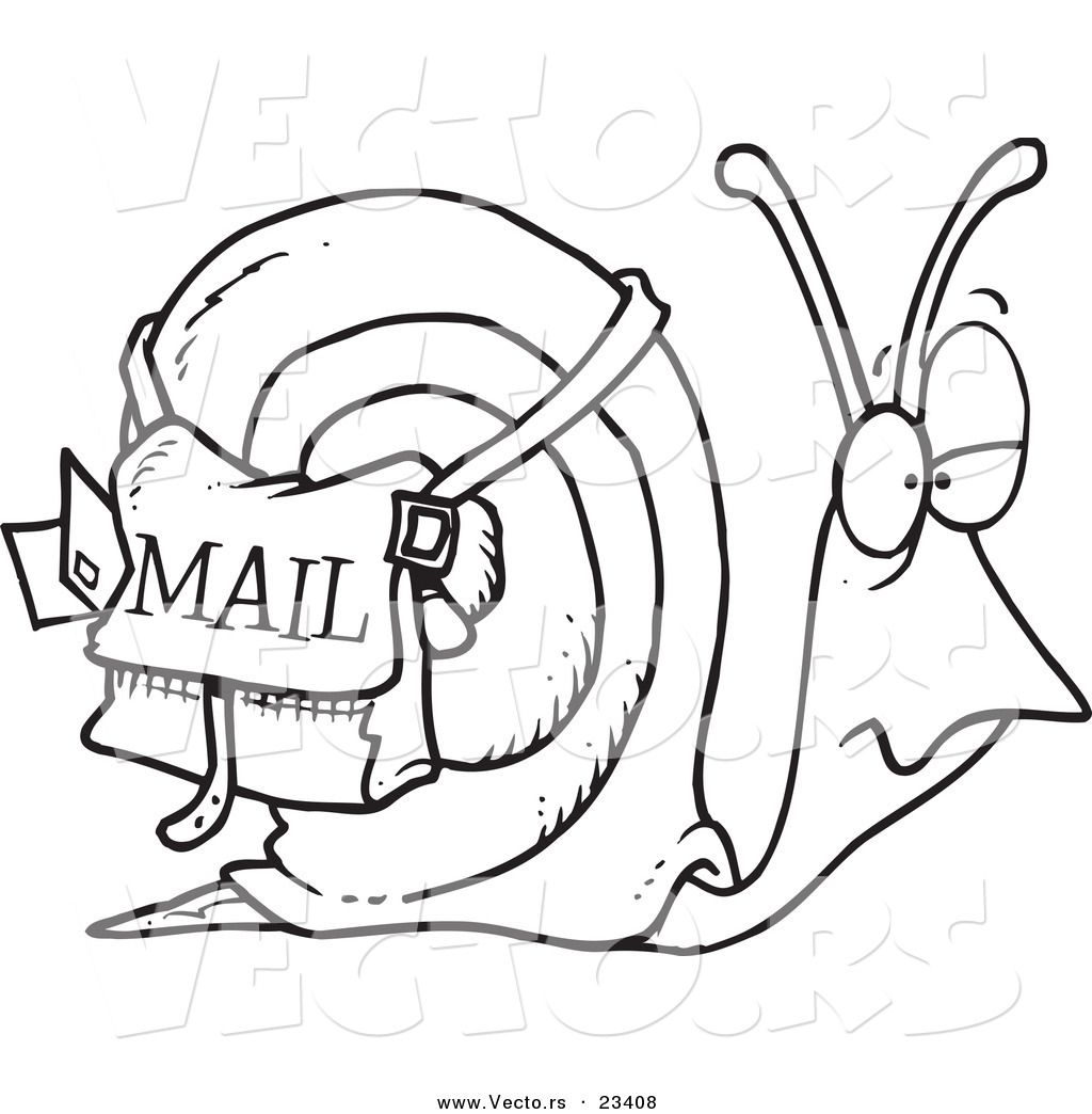 Cartoon Vector Of Cartoon Snail Mail