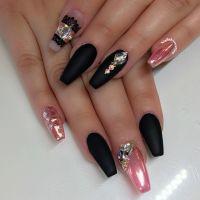 Matte black, pink chrome nail art | Nail Art | Pinterest ...