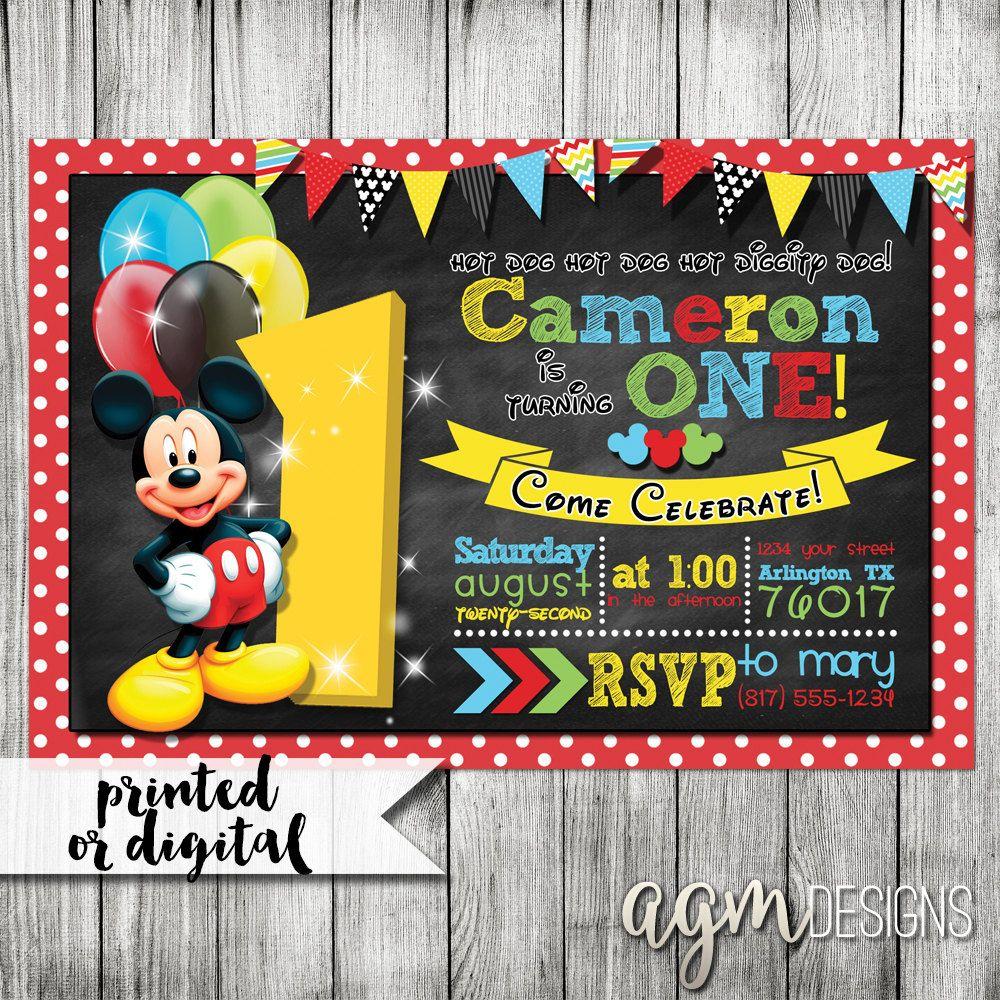 Mickey Mouse Invitation Mickey Mouse 1st Birthday Mickey