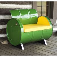 Drum Barrel Green Metal Armchair | Steel drum, Repurposed ...