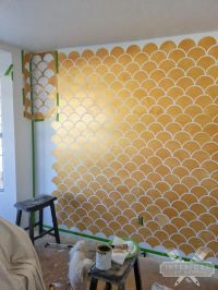 Gold Scallops Accent Wall | Stenciling, Nursery and Walls