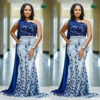 Plus Size African Nigerian Royal Blue Appliques Embroidery ...