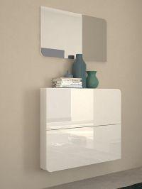 Goccia, modern wall mounted shoe cabinet in white gloss ...
