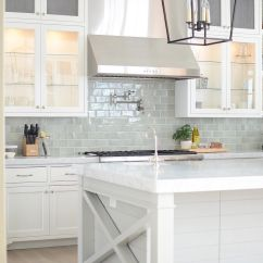 White Kitchen Cabinets And Backsplash Plywood Bright With Pale Blue Subway Tile