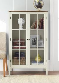 Tall Display Cabinet Storage Furniture 2 Glass Doors Home