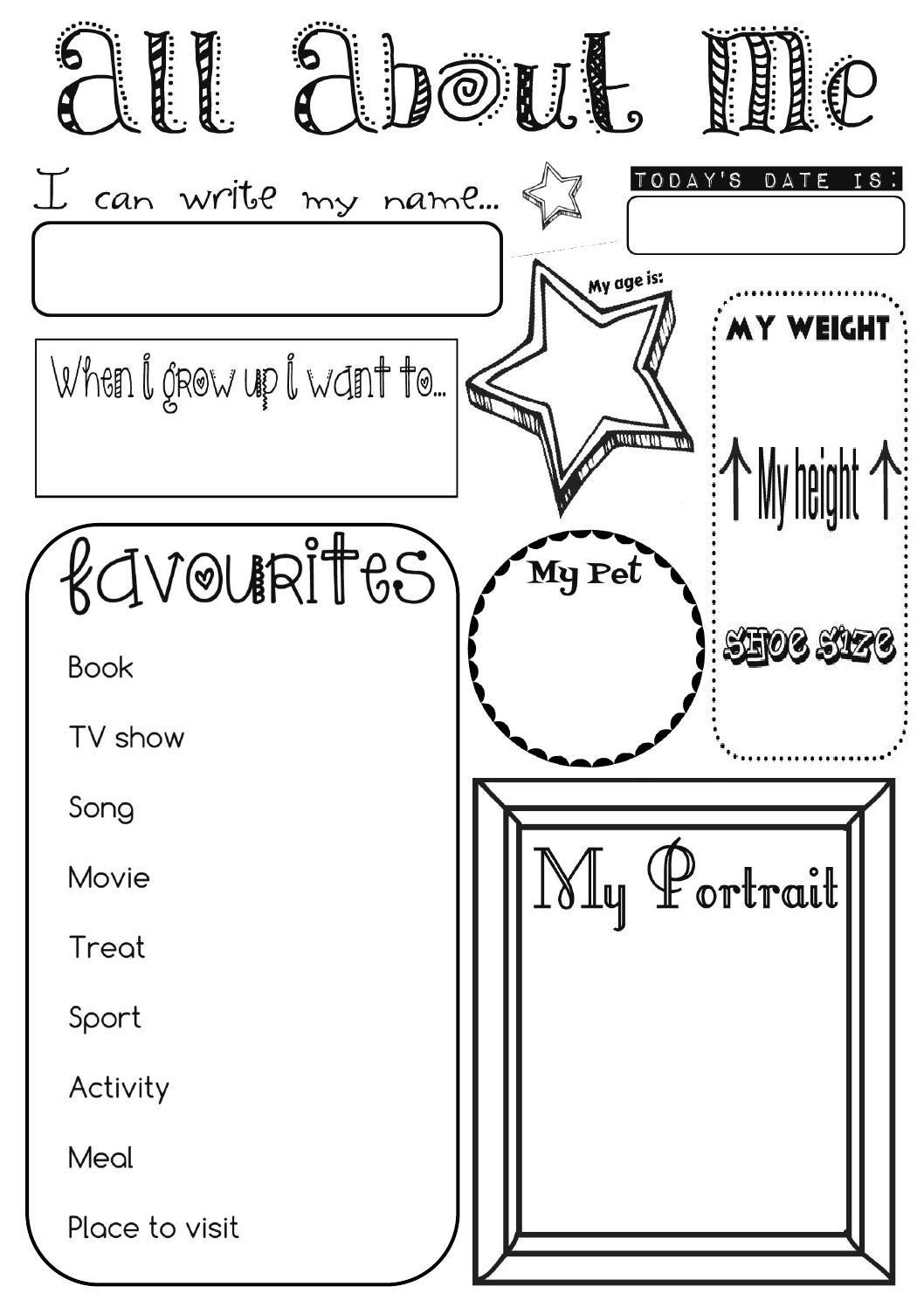 All About Me Activity Sheet By Ernie And Bird For Pre Schoolers Kindergarten Prep