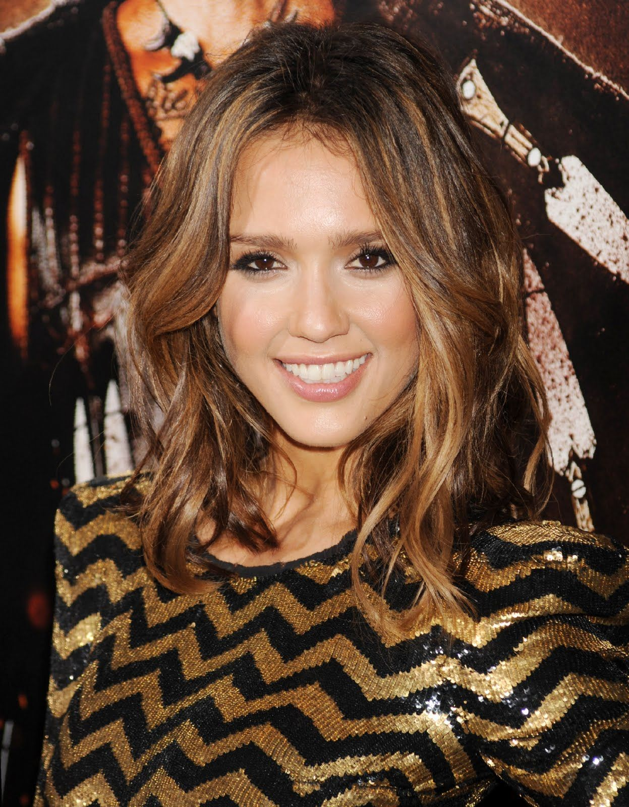 Brown Hair With Blonde Highlights Dip Dye Jessica Alba With