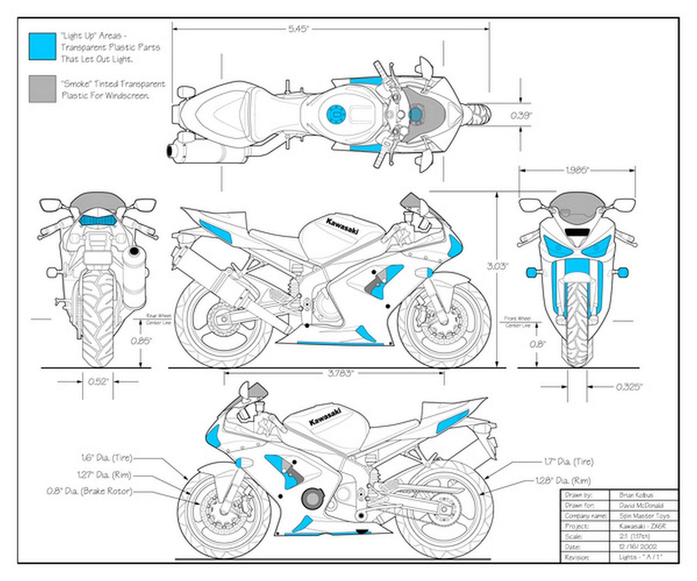 Kawasaki Zx6r 636 Blueprints