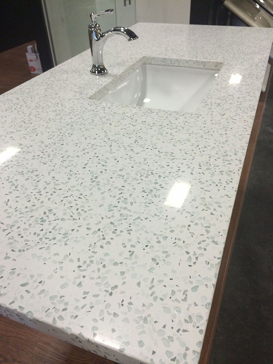 recycled glass kitchen countertops cart ikea i am intrigued by they are a