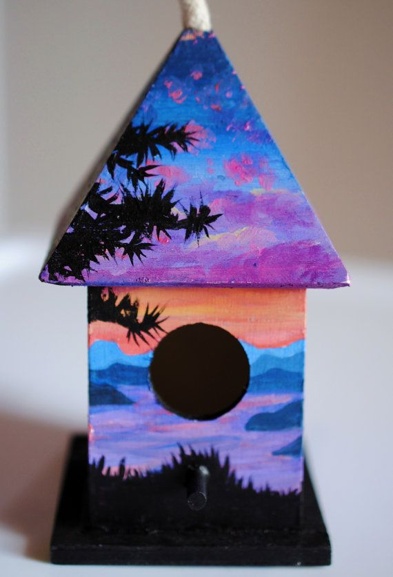 A Mini Birdhouse That I Painted With Acrylics 20 00 On Etsy
