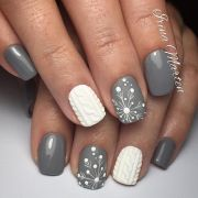 grey and white nail art design
