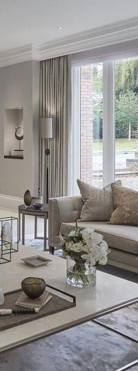 Neutral Living Room | Contemporary Drapes Inspiration ...