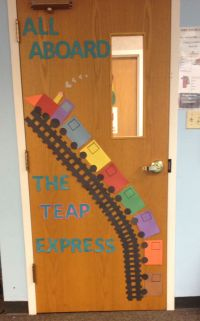 Preschool transportation door decoration. As kids faces to