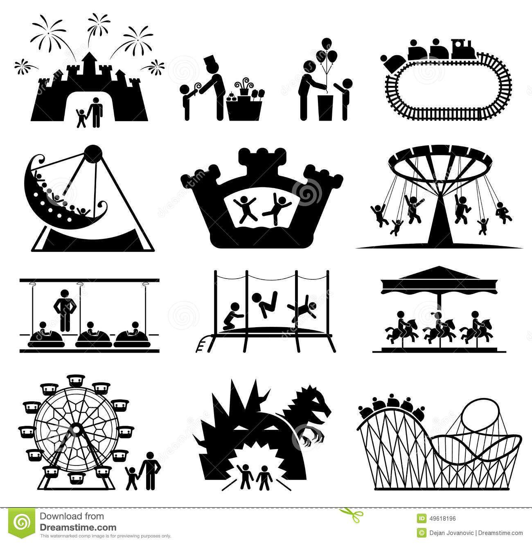 Children Amusement Park Pictogram Icon Set Vector