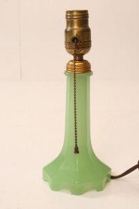 Vintage JADITE HOUZEX GLASS TABLE LAMP green art deco mid ...
